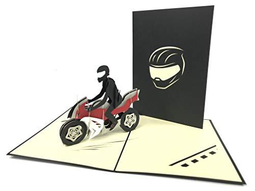3D-Pop-Up-Karte mit Biker-Motiv - Grußkarte, Jahrestag, Baby, Geburtstag, Ostern, Muttertag, Dankeskarte, Valentinstag, Hochzeit, Kirigami-Papier, Kunstpostkarte