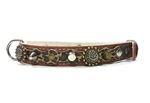 Hunde-Halsband, Handmade Braun Leder für Kleine und Mittelgroße Hunde, Leopard Camouflage Leder, Steine und Schöne Nieten, 40 cm S: Halsumfang 30-35 cm, Breit 15mm