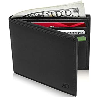 Slim Leather Bifold Wallets For Men - Minimalist Mens Wallet RFID Blocking Card Holder With ID Window Gifts For Men