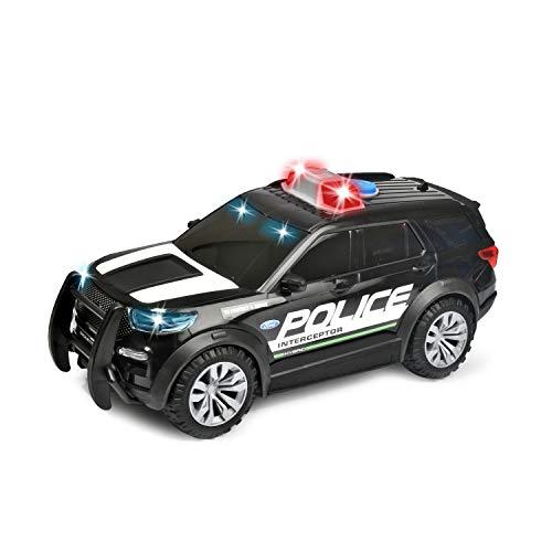 Dickie Toys 203714018 Ford Police Interceptor, Polizei, Polizeiauto, Freilauf, Spielzeugauto, Licht & Sound, 25 cm, Maßstab 1:18, US Version, für Kinder ab 3 Jahren
