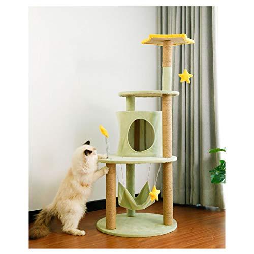 jixi Kratzbaum für Katzen, Katzenbaum, Katzenbaum, Möbel für Kätzchen, Spielhaus mit Kratzstämmen, Sitzstangen und Hängematte