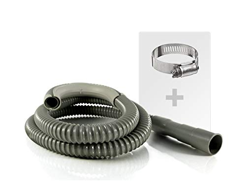6ft Heavy-Duty Washing Machine Drain Hose With Clamp - Industrial Grade Polypropylene Discharge Hose for Washing Machines - Fits Up To 1-1/4 Inch Drain Outlets