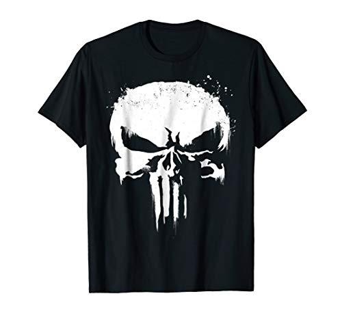 Marvel Punisher White Paint Splatter Skull Graphic T-Shirt