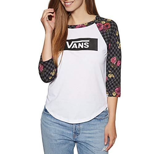 Vans - Camiseta de Manga Corta para Mujer, Color Blanco y Negro, Talla S