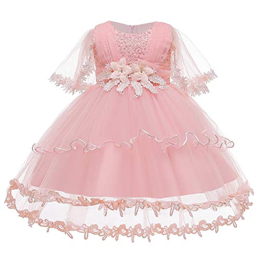 MEIbax Gonna del Vestito Principessa Abiti da Sposa dai Tutu Convenzionale di Prestazione Fiori Ricamati Pizzo della Neonata del Bambino