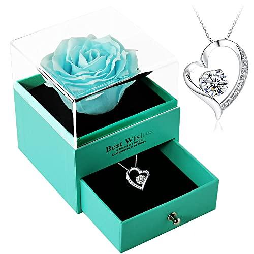 母の日のプレゼント人気-LalunaプリザーブドフラワーのジュエリーBOX 創作ギフトボックス-S925レディース ネックレス 青いバラ 薔薇 造花 プレゼント ギフト 石?花 石?フラワー 贈り物 ギフト、誕生日 記念日 ホワイトデー 母の日 七夕 先生