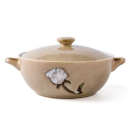 Home Big Wrist Bowl Stereofonisch Keramische Soep Pot Instant Noodle Bowl Servies Pan met deksel Huishoudelijke Grote Capaciteit Soep Bowl Perfect Gift Decoratieve Hotel Retro Soep Bowl