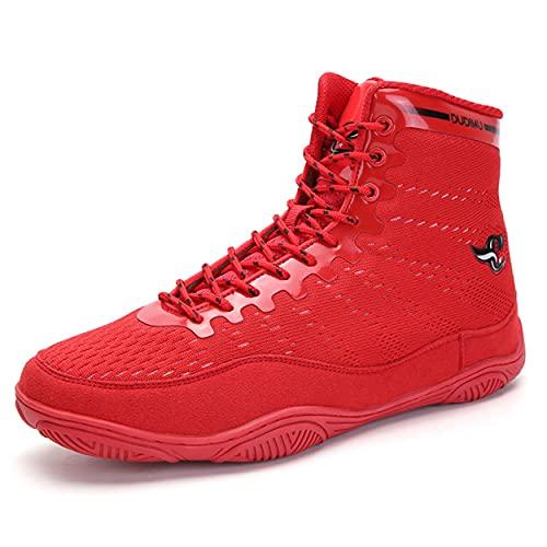Zapatos De Lucha Libre Unisex, Suela De Goma Botas De Boxeo Transpirable Culturismo De Pesas Levantamiento De Pesas Zapatillas Deportivas,Rojo,44 EU