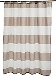 commercial Amazon Basics Antifungal  Antifungal Shower Curtain 72 inch Gray Stripe with Hook shower curtains