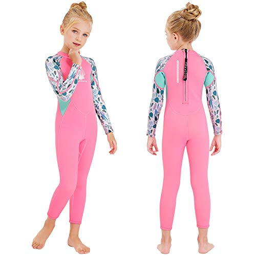 NATYFLY Kids Wetsuit, 2.5mm Neoprene Thermal One Piece Swimsuit, Boys Girls and Toddler Wet Suits for Scuba Diving,Youth Full Suit (Pink, X-Large/6-7Years Old)