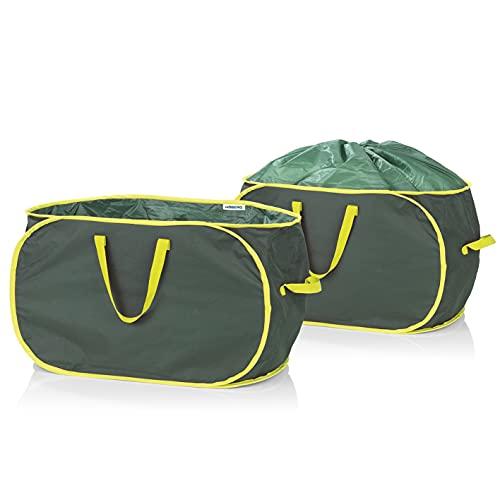 Hoberg Gartenabfalltaschen | 2 x 333 Liter selbstaufstellend, verschließbar, robust, 3 Tragegriffe | Wasserabweisend, stabil und platzsparend verstaubar [45 kg Tragfähigkeit, 600D-Oxford-Polyester]