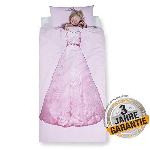 Aminata kids süßes Bettwäsche-Set Prinzessin-Kleid-Motiv 135 x 200 cm + 80 x 80 cm Mädchen, Ballerina aus Baumwolle mit Reißverschluss, unsere Kinder-Bettwäsche mit Prinzessinen-Motiv, pink, rosa