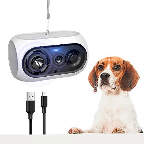 Dispositivo antiladridos para Perros, Automática Ultrasónicos Ahuyentador de Perros 100% Seguro, Impermeable Recargables Disuasivos Anti ladridos, Pequeños Medianos y Grandes Perro, Interior Exterior