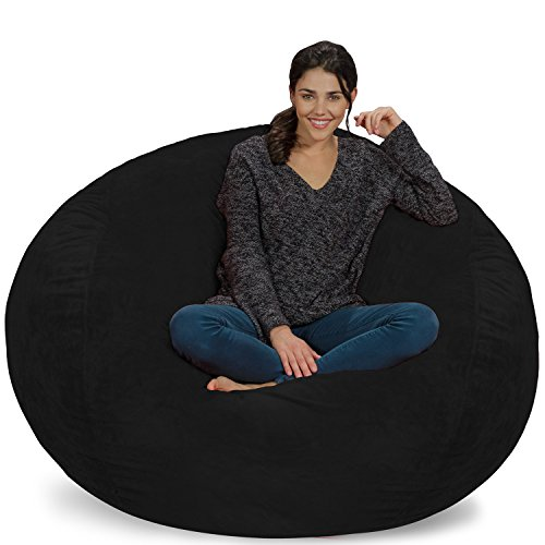 Chill Sack Bean Bag Chair: Giant 5' Memory Foam Furniture Bean Bag - Big Sofa with Soft Micro Fiber Cover - Ultrafur Black