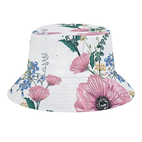 Brand Free Patrón tropical sin costuras de verano con plantas coloridas y hojas Packable Summer Travel Bucket Beach Sun Hat