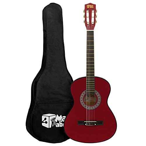 Mad About MA-CG08 Klassieke gitaar, 1/2 size rode klassieke gitaar – kleurrijke Spaanse gitaar met draagtas, riem, pick…