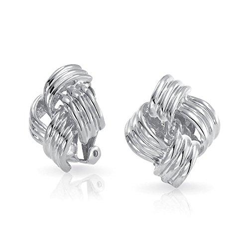 Geometric cuadrado de dos tonos cable de cuerda amor nudo clip en pendientes para mujeres no perforadas orejas plateadas latón plateado