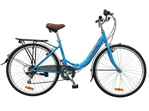 Bicicleta urbana de aleación Ecosmo, para mujer, 700C, 7SP -28AC02B