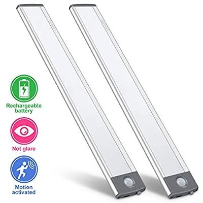 LED Motion Sensor Cabinet Light,Under Counter Closet Lighting, Wireless USB Rechargeable Kitchen Night Lights,Battery Powered Operated Light,Uniform light for Wardrobe,Closets,Cabinet,Cupboard(2 Pack)