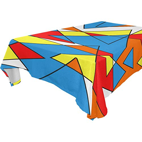 Jessgirl Retro Exquisite Druckhüte Die Farbe Bauhaus 54x54 Zoll Tischdecke Quadratische Tischdecke für Wohnzimmer oder Picknick