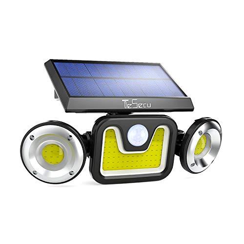Solarlampen für außen mit Bewegungsmelder, Tesecu 83 LEDs Solarleuchten für außen IP65 Wasserdicht LED Strahler Außenwandleuchten für Garten, Garage, Patio, Hof, Weg