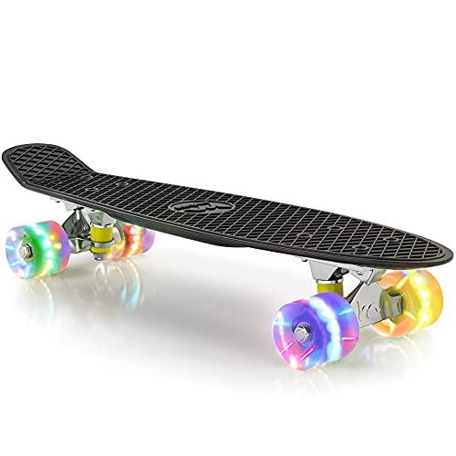 "Merkapa 22"" Complete Skateboard with Colorful LED Light Up Wheels for Beginners (Black)"