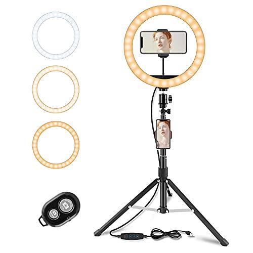 WOHOOH LED Ringlicht Stativ mit Bluetooth Fernbedienung,Lichtring mit Handy Stativ, 10 Zoll Selfie Ringleuchte mit 3 Farbe und 11 Helligkeitsstufen für YouTube TikTok