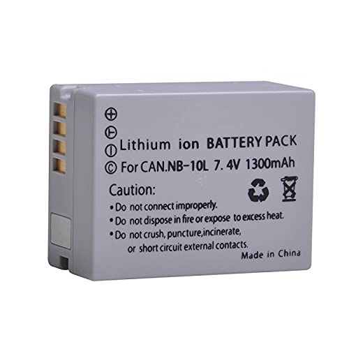 RFGTYH Batería de cámara NB-10L de 7,4 V 1300 mAh para Canon SX40 HS SX40HS SX50 HS SX50HS G1 X G1X G15 G16 SX60 HS G3X baterías de cámara