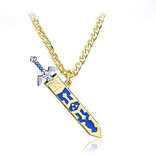 YUNMENG Juego Legend of Zelda Extraíble Master Sword Cool Colgante Collar de Color Dorado para Hombres Regalos Joyería