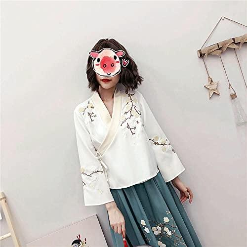 CDDKJDS Elegante Mujer Kimono Vestido Retro Flor Bordado Ropa De Primavera Conjunto Femenino Oriental Vintage Trajes (Color : Top, Size : M)