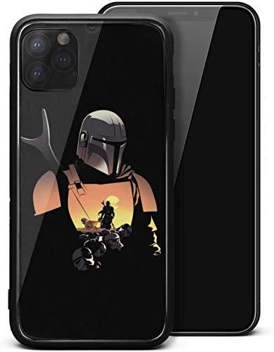 Carcasa para iPhone 11 The-Mandalorian-Design- Unisex de cristal templado duro negro antiarañazos, protector de golpes