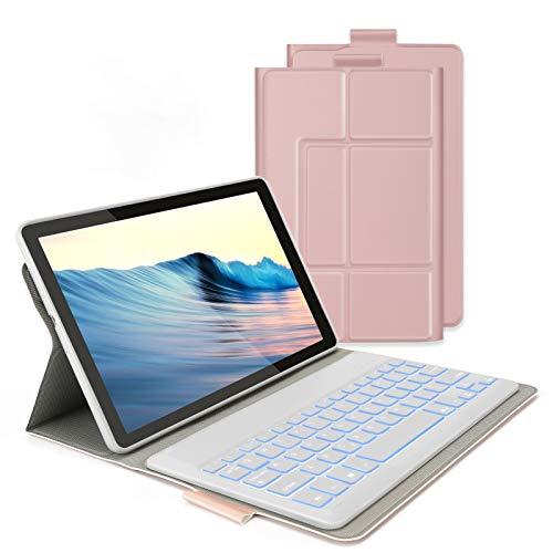 Jelly Comb Samsung Galaxy Tab A 101 2019 Tastatur Hulle Bluetooth Beleuchtete QWERTZ Tastatur mit Schutzhulle fur Samsung Galaxy Tab A 101 Zoll T515T510T510NT515N Rosagold