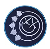 Blink 182 Smiley Logo Military Patch Fabric Embroidered Badges Patch Tactical Stickers for Clothes with Hook & Loop