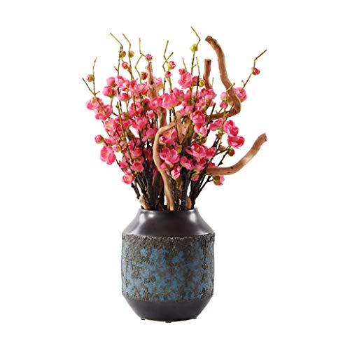 NYKK Getrocknete Blumen Chinese Zen Simulation Rote Pflaumen-Blüten Keramik Bonsai, Geeignet for Villa Hotel Family Wedding Dekoration, künstliche Topf Künstliche Blumen künstliche Blumen