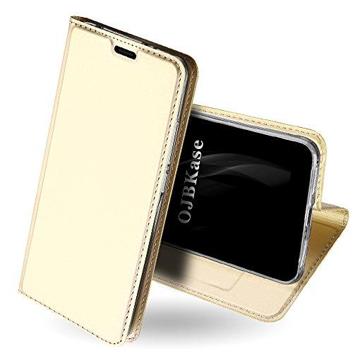 OJBKase Redmi S2 Hülle, Premium Slim PU Leder Handy Schutzhülle [Standfunktion] Hülle/Cover/Brieftasche/Ledertasche Bookstyle Tasche Lederhülle Handyhülle für Xiaomi Redmi S2 (Gold)