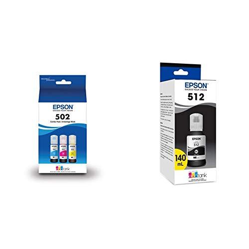 Epson T502 EcoTank Color Combo Pack Auto-Stop Ink Bottle (ET-2700, ET-2750, ET-3700, ET-3750, ET-4750) & T512 EcoTank Black Auto-Stop Ink Bottle (ET-7700, ET-7750)