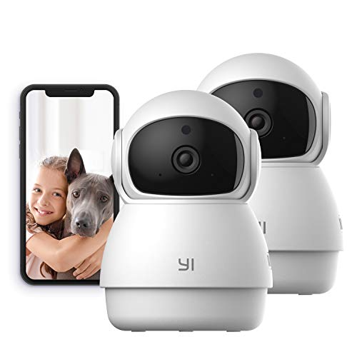 YI Indoor Wireless WiFi Security IP Camera Dome Guard, Smart Nanny Pet Dog Cat Cam with Night Vision, 2-Way Audio, Motion Detection, 360-degree, Phone App, Compatible with Alexa and Google 2 pack
