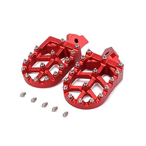 CNC Foot Pegs Footpegs Foot Rests Foot Pedals - For XR50R XR70R XR80R XR100R 2000-2005 KLR 650 1987-2005 - Red