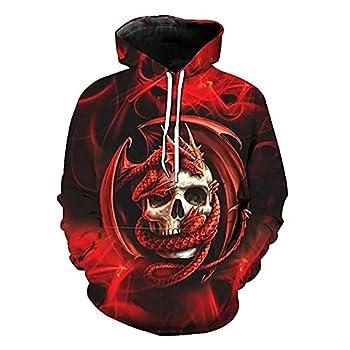 Fartunedo Unisex Thin 3D Digital Print Couple Hoodie Women Men Sport Sweatshirt Pullover Hoody  Large Dragon Skull #1