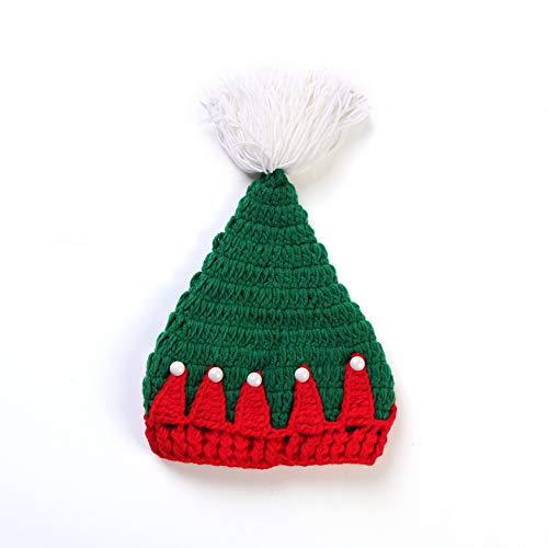 ZAAQ Gestrickte Weihnachtsmütze Baby Neugeborene Wolle Rot und Grün Weihnachtsmütze Mütze Baby Häkeln Hut Weihnachtsfeier Requisiten Geschenke