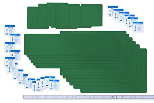 Set de tiritas autoadhesivas para reparación de lonas | 20 piezas profesional | en muchos colores | para piscinas, lonas y UVM | (verde esmeralda)