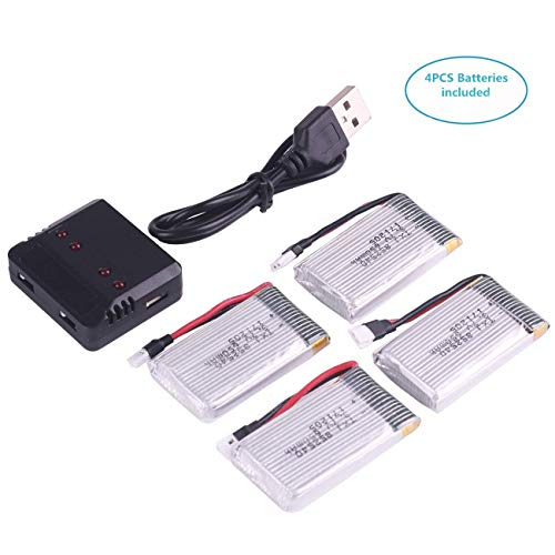 Crazepony-UK 4PCS 1S Akku 3.7V 650mAh Lipo Battery with USB Charger Ladegerät for RC Syma X5 Serial UAV Drone Vehicle