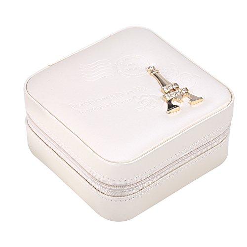 Da Dini Mini cajas de joyería para collar y almacenamiento, pendientes de viaje con cremallera de PU, collar y anillo de almacenamiento, ataúd Torre Eiffel Blanco