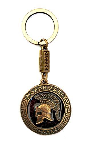 IconsGr Llavero Antiguo Espartano Casco de Batalla Moneda Escudo Llavero película 300 Rojo