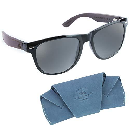 CURVAN - Gafas de Sol Polarizadas Hombre Mujer Unisex | Modelo Marley Design | 100% Protección UV400 | Lentes Espejo Antideslumbramiento | Patillas Madera Natural Ecológica (Black)