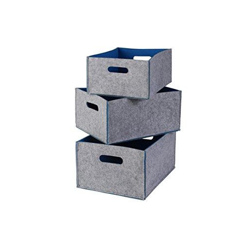 Opbergdozen set in vilten look buiten grijs/binnenkant blauw in 3 maten - bewaarmand voor brandhout, als mand voor speelgoed of transportbox