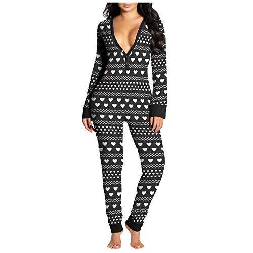 ZYUEER Jumpsuit Femme Polaire, Pyjama Chaud Couleur Unie Couleur Combinaison Pyjama avec Chapeau for Women Pas Cher (L, Noir)