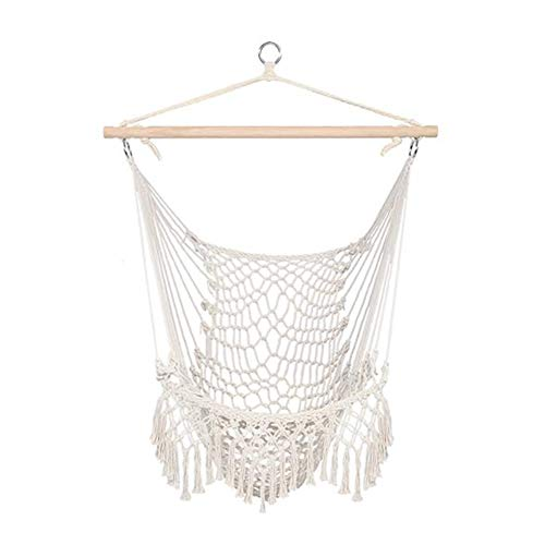 Hammock Chair Super Large Hanging Chair Soft-Spun Cotton Rope Weaving Chair, Hardwood Spreader Bar Wide Seat Lace Swing Chair Indoor Outdoor Garden Yard Theme Decoration