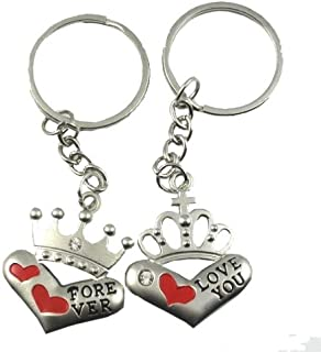 4EVER Men's Heart Imperial Crown Couple Keychain (With Gift Box) 9x5x0.3Cm Silver