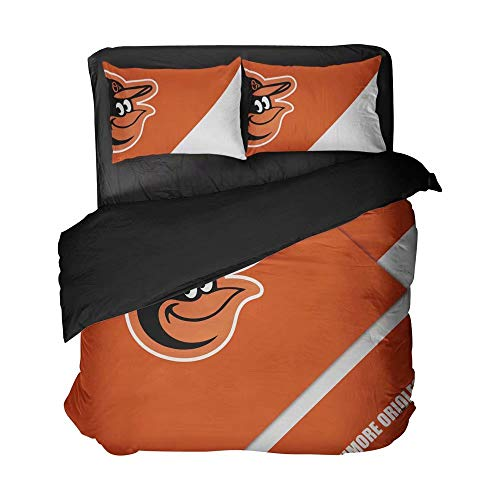Maspt Baltimore Baseball Sports Bed Sheet Sets Orange Clear Graphic Duvet Cover 2 Pillowcases Bedspread 4 Pieces for Child(Full 3pcs)
